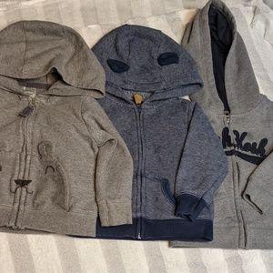 Set of 3 baby zip up hoodie jackets